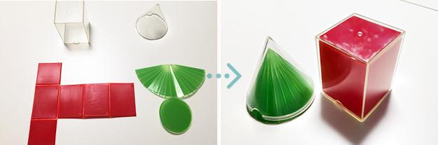 立方体・円錐の展開模型